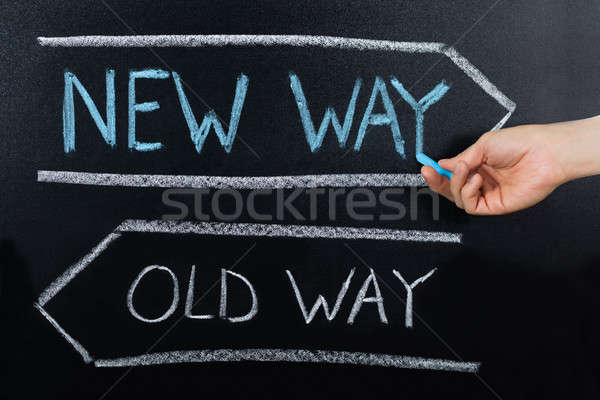 Stock photo: Old Way Or New Way Concept Drawn On Blackboard
