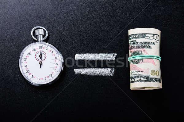 Zaman eşit para tahta finanse Stok fotoğraf © AndreyPopov