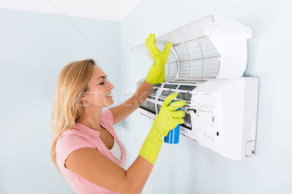 Heureux femme nettoyage climatiseur jeunes spray Photo stock © AndreyPopov