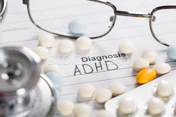 Pills;Glasses And Stethoscope With Text Diagnosis ADHD Stock photo © AndreyPopov