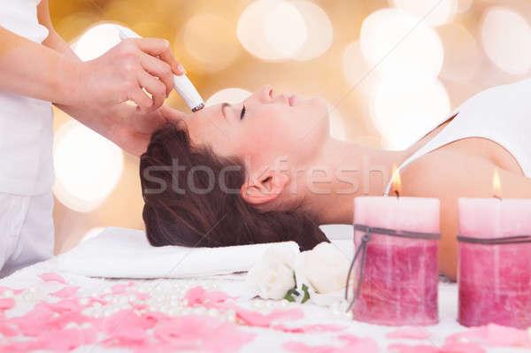 Nő terápia homlok közelkép nyugodt fiatal nő Stock fotó © AndreyPopov