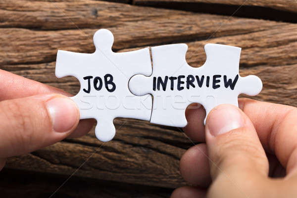 Hands Connecting Job Interview Jigsaw Pieces Stock photo © AndreyPopov