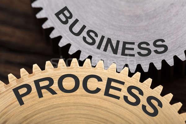 Business Process Concept On Interlocked Cogwheels Stock photo © AndreyPopov