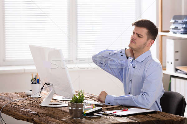 бизнесмен страдание шее боль прикасаться Сток-фото © AndreyPopov