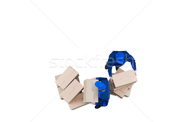 Two Professional Movers Moving The Cardboard Boxes Stock photo © AndreyPopov