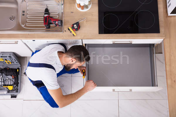 Charpentier tiroir cuisine vue Photo stock © AndreyPopov