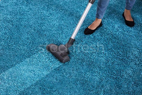 Gondnok porszívó takarítás szőnyeg közelkép kék Stock fotó © AndreyPopov