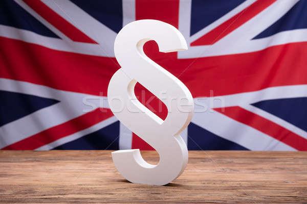 Bekezdés szimbólum Anglia zászló fehér fából készült Stock fotó © AndreyPopov