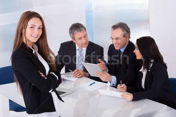 Heureux jeunes femme d'affaires collègues affaires sourire Photo stock © AndreyPopov