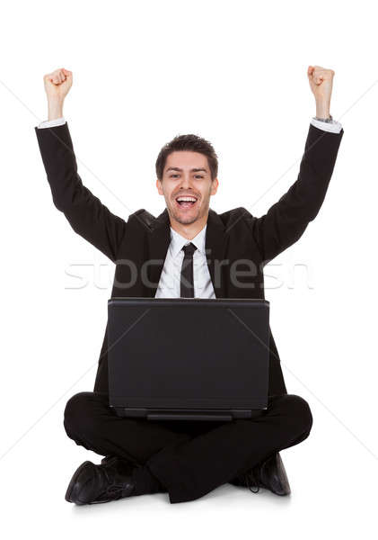楽しい ビジネスマン 歓喜 ノートパソコン 孤立した 白 ストックフォト © AndreyPopov