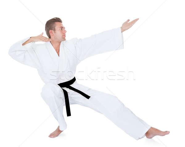 Stok fotoğraf: Genç · karate · kimono · beyaz · adam