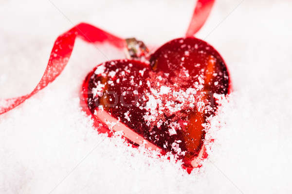 Red Heart Shaped Christmas Bauble Stock photo © AndreyPopov