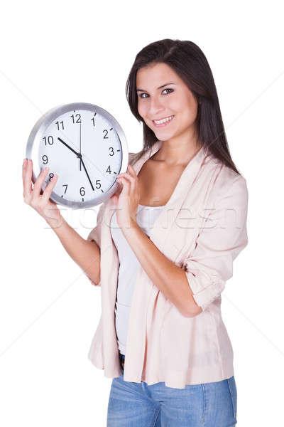 Güzel bir kadın saat büyük analog eller Stok fotoğraf © AndreyPopov