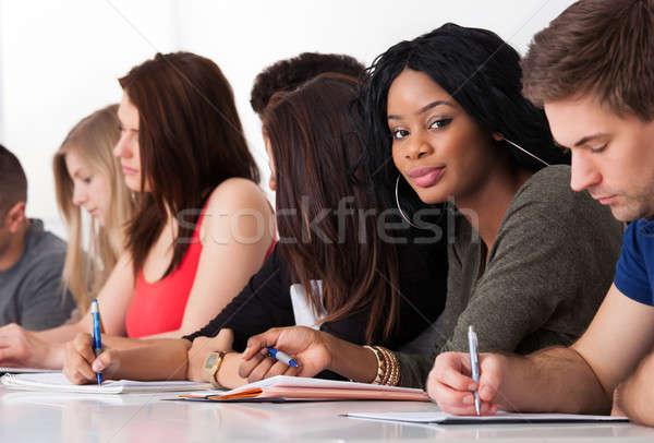 студент сидят Одноклассники Дать столе портрет Сток-фото © AndreyPopov