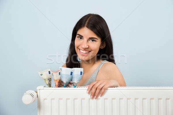 Mulher dentro radiador jovem feliz Foto stock © AndreyPopov