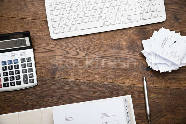 Keyboard And Calculator With Receipts Stock photo © AndreyPopov