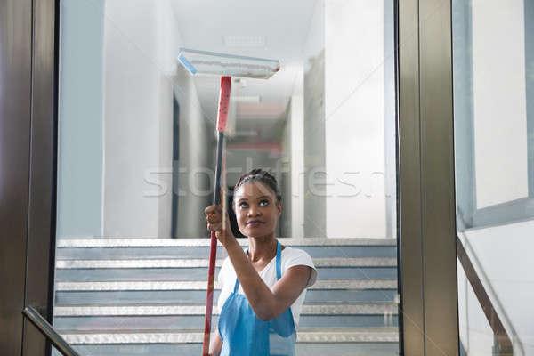 Africano mulher limpeza vidro borracha limpador de janelas Foto stock © AndreyPopov