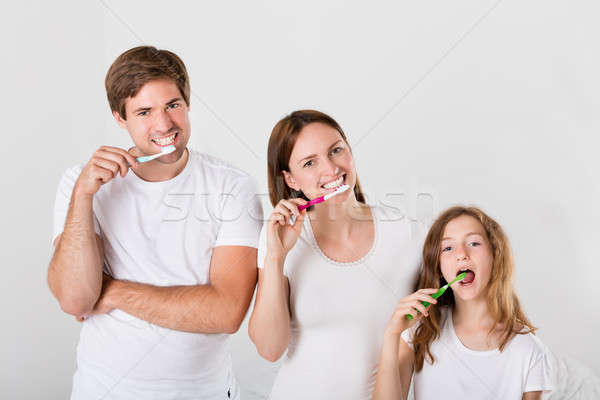 Family Brushing Teeth Together Stock photo © AndreyPopov
