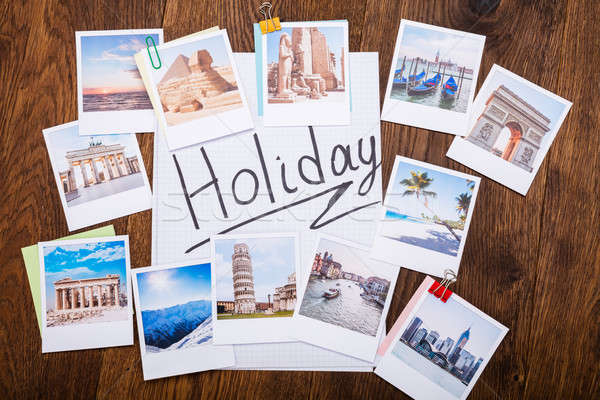 Holiday Photos On Wooden Desk Stock photo © AndreyPopov