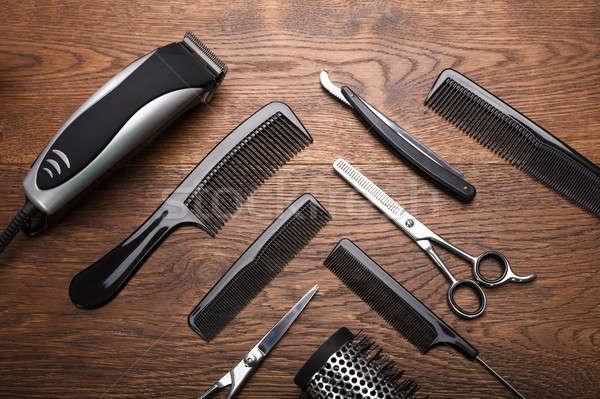 Peluquero herramientas escritorio vista Foto stock © AndreyPopov