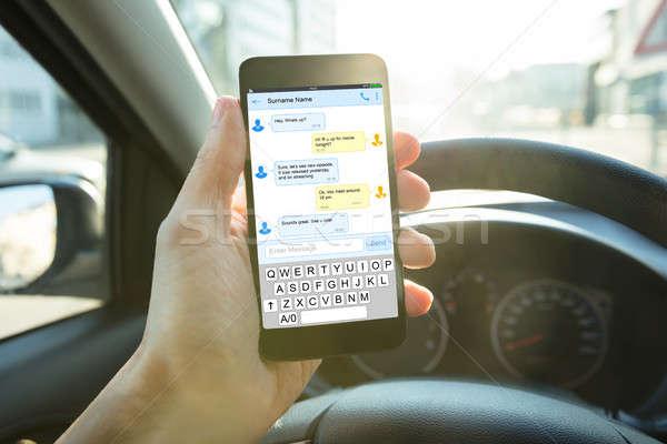 人 送信 メッセージ 携帯電話 クローズアップ ストックフォト © AndreyPopov