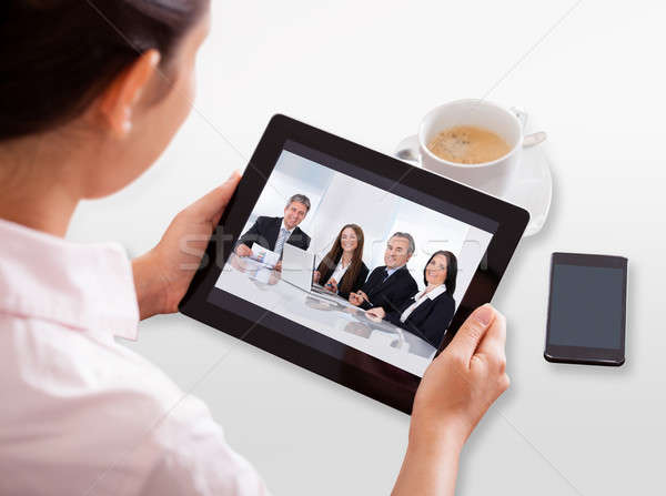 Businesswoman Video Conferencing On Digital Tablet Stock photo © AndreyPopov