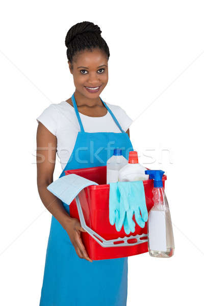 Portrait Of Smiling Female Janitor With Cleaning Equipments Stock photo © AndreyPopov