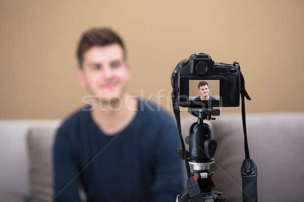 Blogger Recording Video With Camera Stock photo © AndreyPopov