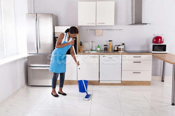Ev kadını temizlik zemin mutlu Afrika kadın Stok fotoğraf © AndreyPopov