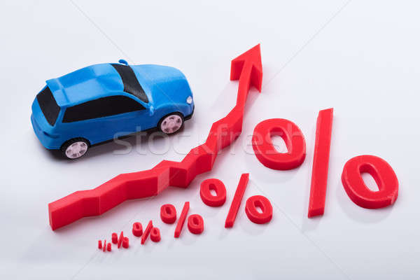 Elevated View Of Growing Percentage Symbol And Arrow Sign Stock photo © AndreyPopov