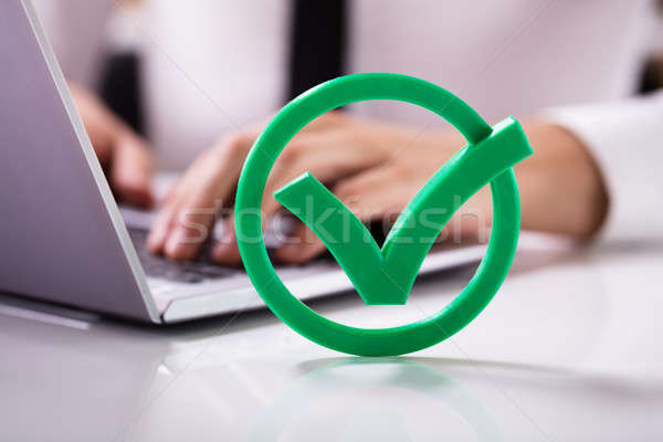 Close-up Of Green Check Mark Sign Stock photo © AndreyPopov