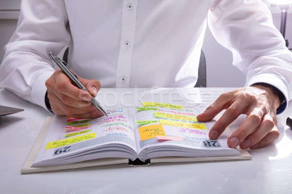 Biznesmen piśmie harmonogram dziennik strony Zdjęcia stock © AndreyPopov