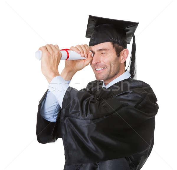 Stok fotoğraf: Mezun · öğrenci · bakıyor · gelecek · portre · mutlu