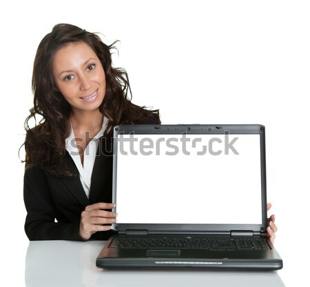 Smiling woman with blank laptop screen Stock photo © AndreyPopov