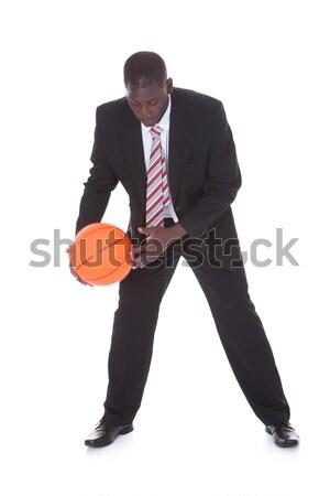 Işadamı oynama basketbol portre genç Afrika Stok fotoğraf © AndreyPopov