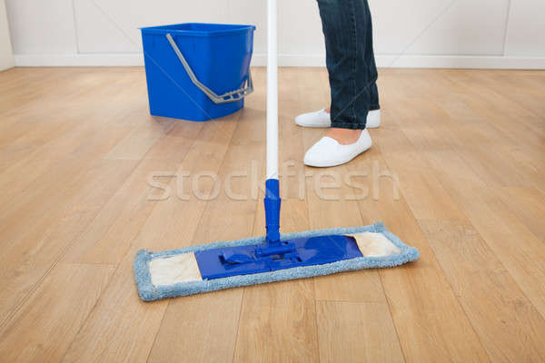 Woman Mopping Hardwood Floor At Home Stock photo © AndreyPopov