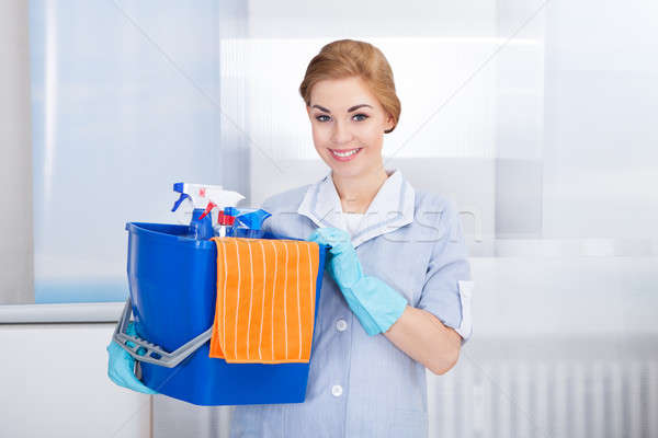 Young Maid Holding Cleaning Supplies Stock photo © AndreyPopov