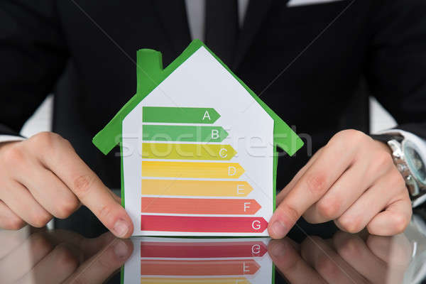 Businessman Showing Energy Efficient Chart On House Model Stock photo © AndreyPopov
