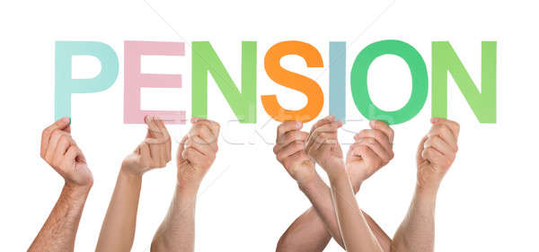 Groupe mains lettre pension isolé Photo stock © AndreyPopov