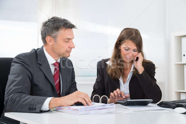 Two Businesspeople Doing Accounting At Desk Stock photo © AndreyPopov