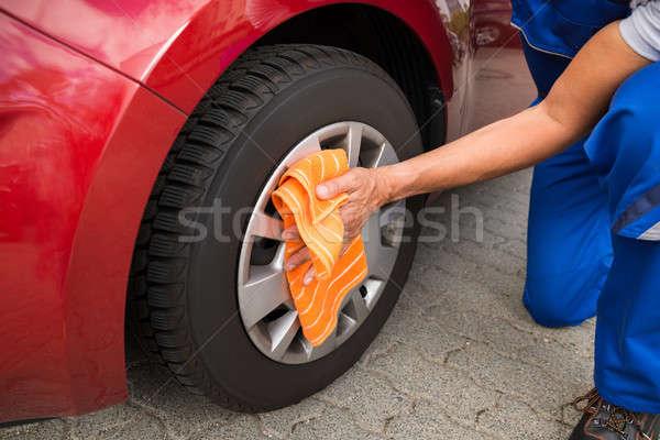 Stock fotó: Munkás · takarítás · autó · kerék · érett · férfi