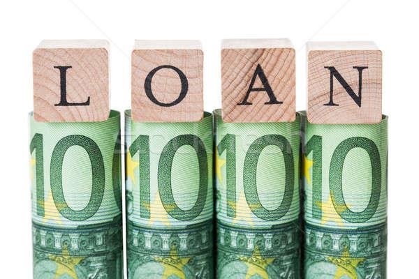 Lening blokken euro merkt witte Stockfoto © AndreyPopov