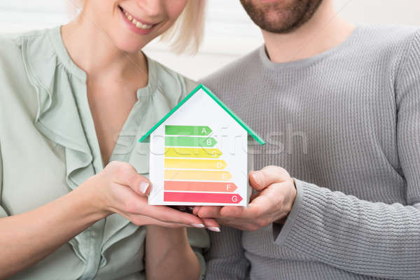 Young Couple Showing Energy Efficiency Rate On House Model Stock photo © AndreyPopov