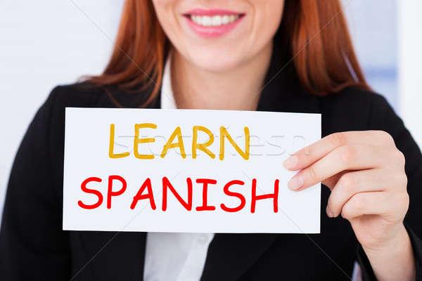 女性実業家 学ぶ スペイン語 カード クローズアップ ストックフォト © AndreyPopov