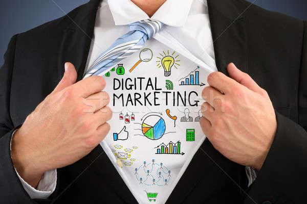 Stock fotó: üzletember · mutat · digitális · marketing · közelkép · nyitás