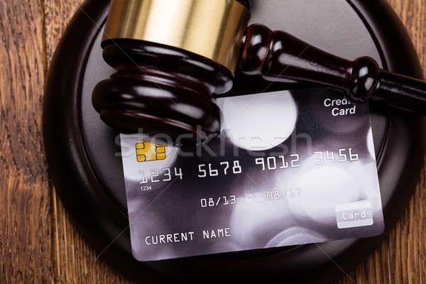 Credit Card On Wooden Gavel Stock photo © AndreyPopov
