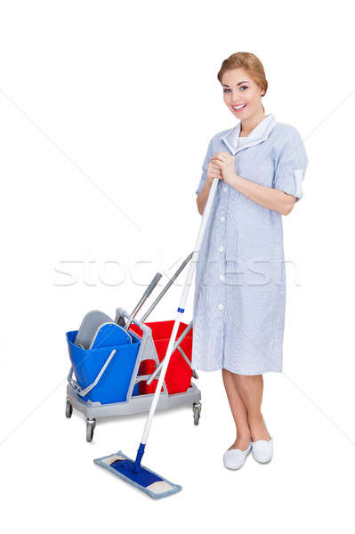 Female Janitor Cleaning Floor Using Mop Stock photo © AndreyPopov