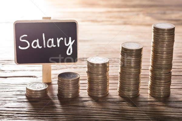 Stipendio testo piccolo gesso bordo moneta Foto d'archivio © AndreyPopov