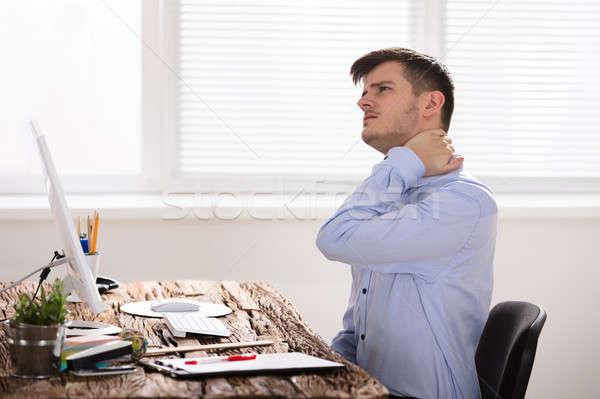 Foto stock: Empresário · sofrimento · pescoço · dor · tocante