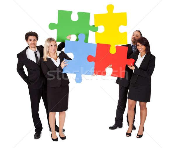 Stock fotó: Csoport · üzletemberek · puzzle · kirakós · játék · izolált · fehér